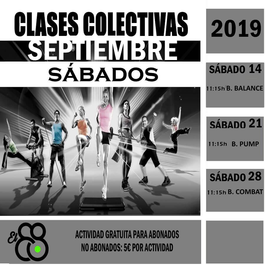 CLASES COLECTIVAS SABADOS SEPTIEMBRE 2019